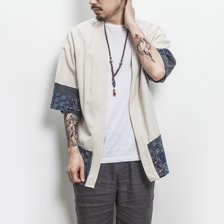 H18ec9d11502240219ed9b008ff8d9c65C Drop Shipping Cotton Linen Shirt Jackets Men Chinese Streetwear Kimono Shirt Coat Men Linen Cardigan Jackets Coat Plus Size 5XL