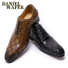 LUXURY ITALIAN LEATHER SHOES MEN NEW FASHION PLAID PRINTS LACE UP BLACK BROWN WEDDING OFFICE FORMAL OXFORD FOR