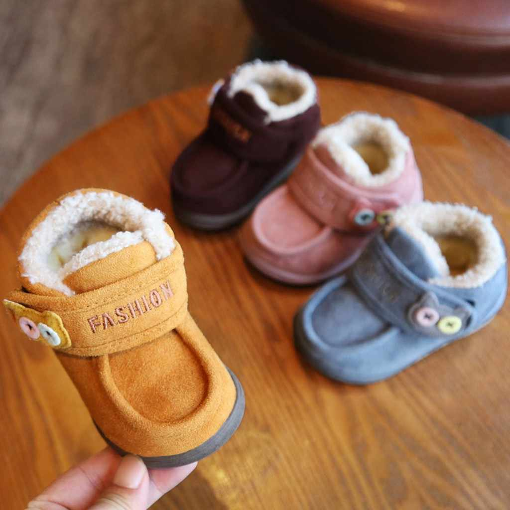 Toddler Kids Baby Girls Boys Winter Warm Solid Cartoon Cat Button Casual Shoes Anti-slip Soft Hook & Loop Rubber Children Shoes