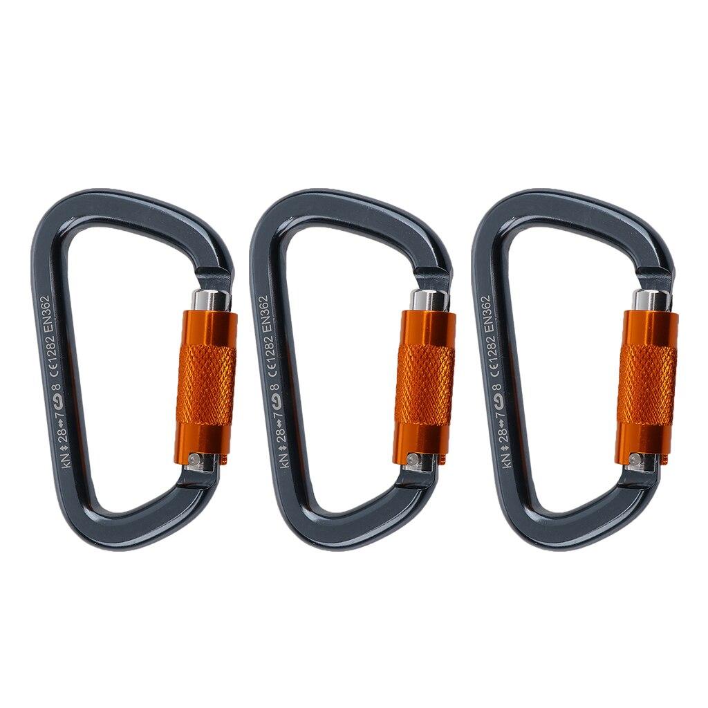 3 Pack 28KN Ultra Lightweight Aluminum Carabiner Clip Screw Gate CE Certified For Rock Climbing Hammock Climbing Accessories