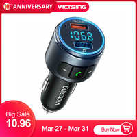 VicTsing Upgraded V5.0 Bluetooth FM Transmitter Radio Adapter Car Handsfree Call 2 USB Ports & QC3.0 Fast Charger FM Transmitter