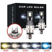 Mini 2 pçs canbus farol do carro h4 h7 led h11 9005 9006 lâmpada farol luz 6500 k 80 w 12000lm automotivo luz de nevoeiro auto lâmpada 12 v Lâmpadas do farol do carro (LED)     -