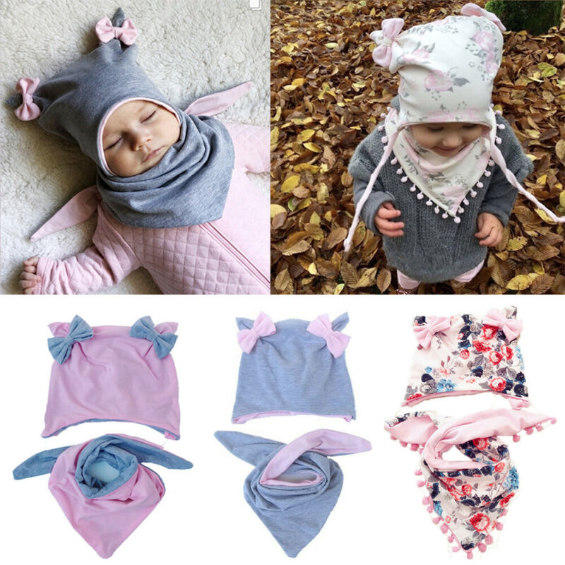 Baby Winter Warmer Headwear 2Pcs Set Hat Scarf Shawl Triangle Bibs Bowknot Design Hat Child Cotton Collar Scarves