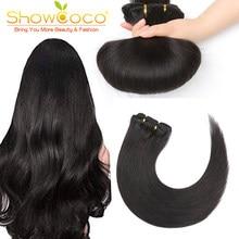ShowCoco pince à cheveux naturelle ins cheveux humains soyeux droit réel 7 pièces ensemble fait à la Machine Remy pince brésilienne dans les Extensions