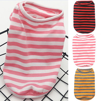 Striped Printed Summer Dog Vest Thin Classic Sleeveless Pet Dog Clothes Pet Vest Cotton Shirt For Yorkshire Costume Wholesale image