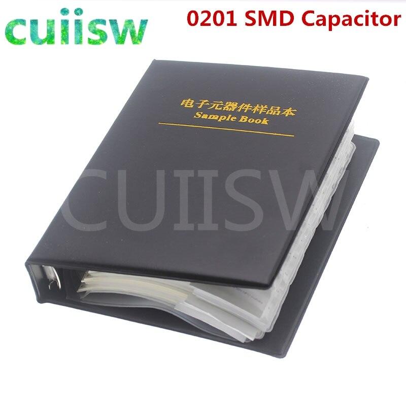 0201 SMD конденсатор книга образцов 51valuesx50шт = 2550 шт 0.5PF ~ 220NF набор различных конденсаторов