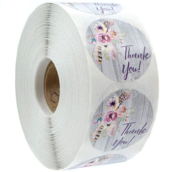 500 Pcs Round Thank you stickers Sealed label fancy design packaging gift wedding decoration Scrapbook stationery stickers roll fancy 3d lotus pond design bathroom stickers