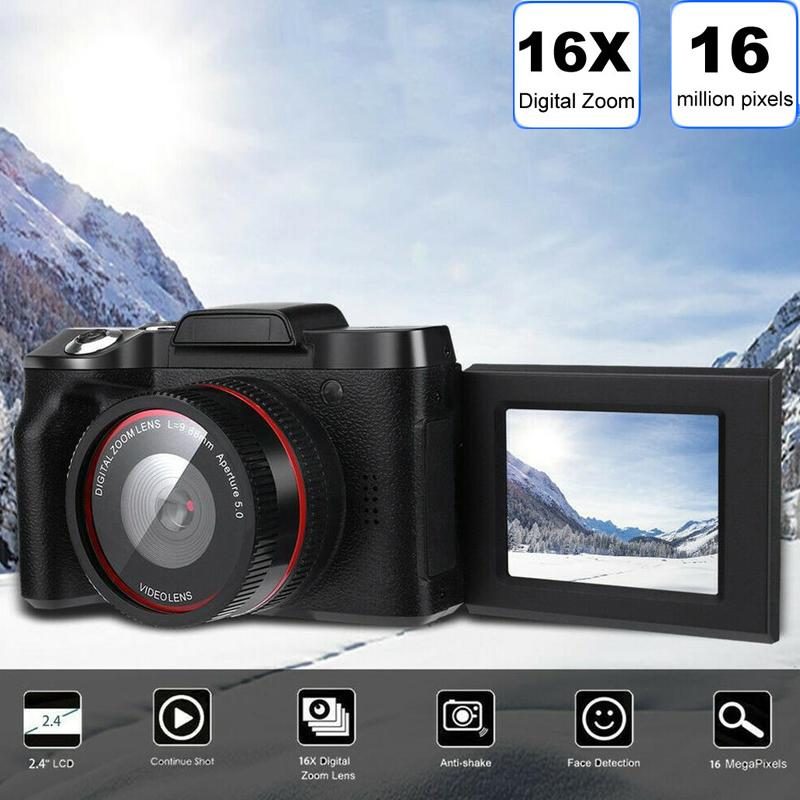 Digital Camera Professional Video Camcorder Vlogging Camera Full HD 16x Built-in Speaker Microphone Black