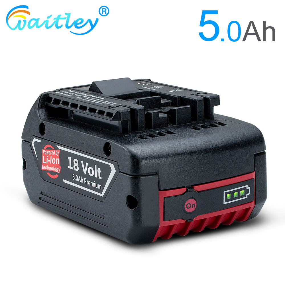 Waitley 18V 5000mah Rechargeable Li-ion Battery For Bosch 18V Power Tool Backup 6.0A Portable Replacement BAT609 Indicator Light