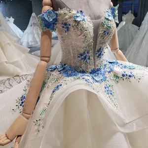 Image 4 - BGW HT41327 Cheap Wedding Dress Blue Flowers Off Shoulder Sweetheart Bead Wedding Gowns With Tail Vestidos De Noiva Plus Size