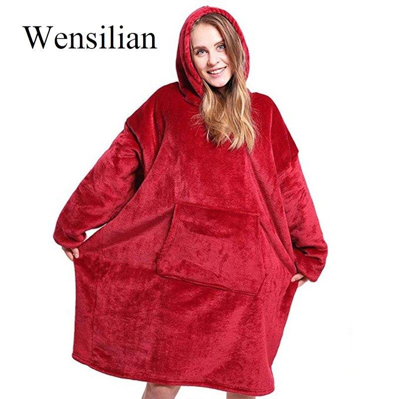 Winter Blanket With Sleeves Sweatshirt Oversize Hoodie Women Hooded Coats TV Blanket Travel Bathrobe Solid Fleece Sudadera Mujer
