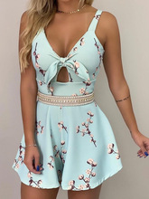 2019 Women Elegant Fashion V-Neck Casual Playsuit Female Stylish Leisure Vacation Floral Print Thin Strap Knotted Detail Romper цена