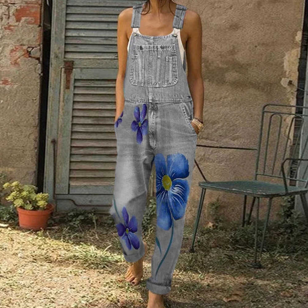 新しい女性秋デニムジーンズパンツジャンプスーツヒップホップカジュアル花柄プリントポケットジーンズロンパースファッションスリムロングオーバーオール