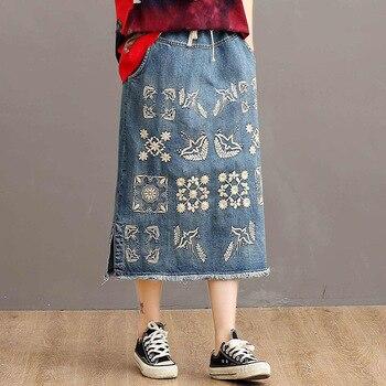 Plus Size  Vintage Women Cotton Denim Skirts Embroidery Elastic High Waist Female Casual Art Loose Oversized Midi Jean Skirts цена 2017