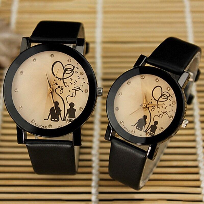 Lovers' Quartz Watch Women Men Wrist Watches Fashion Crystal Quartz Watch Boy Girl Hour Couple Watches Women's Watches Men Gift