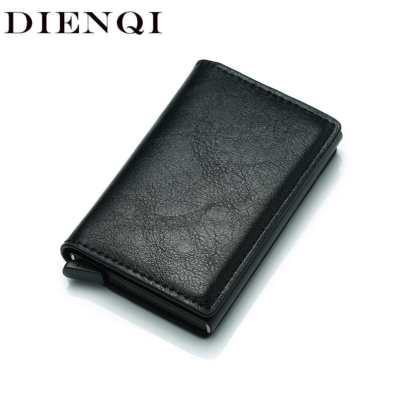 DIENQI Anti Rfid Protection Men Women Credit Card Holder Leather Vintage Slim Mini Wallet Metal Aluminum Business Id Card Case
