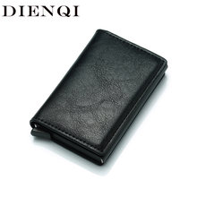 DIENQI Anti Rfid Protection Men Women Credit Card Holder Leather Vintage Slim Mini Wallet Metal Aluminum Business id Card Case(China)