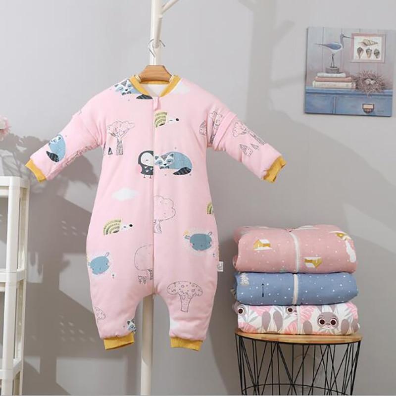 Sleeping Bag Newborn Baby Gowns Infant Onesies Sleeping Sack Split Leg Long Sleeve Removable Autumn Winter YMM036
