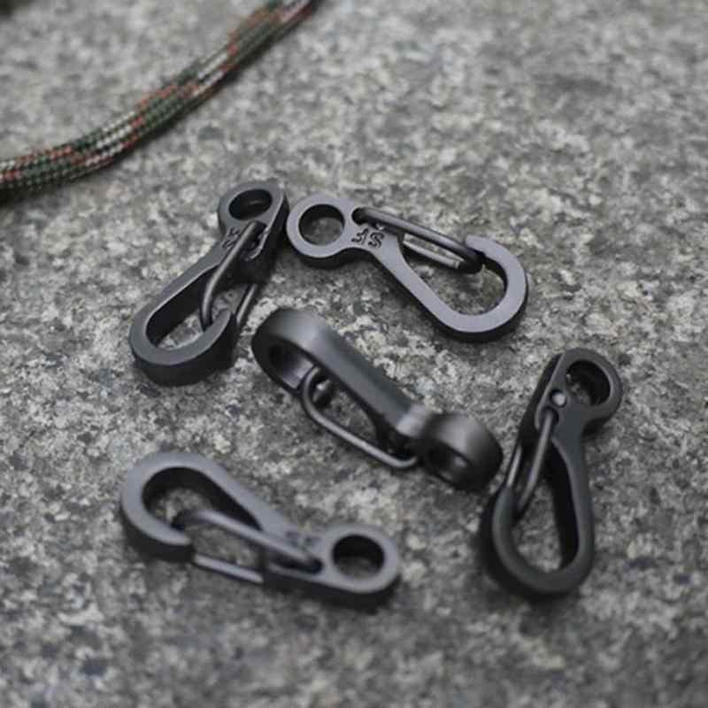 1PCS EDC Miniฤดูใบไม้ผลิClaspsคลิปHook CarabinersปีนเขาCamping Bottle Hooks Paracordเกียร์ยุทธวิธีการอยู่รอดกลางแจ้งเครื่องมือ
