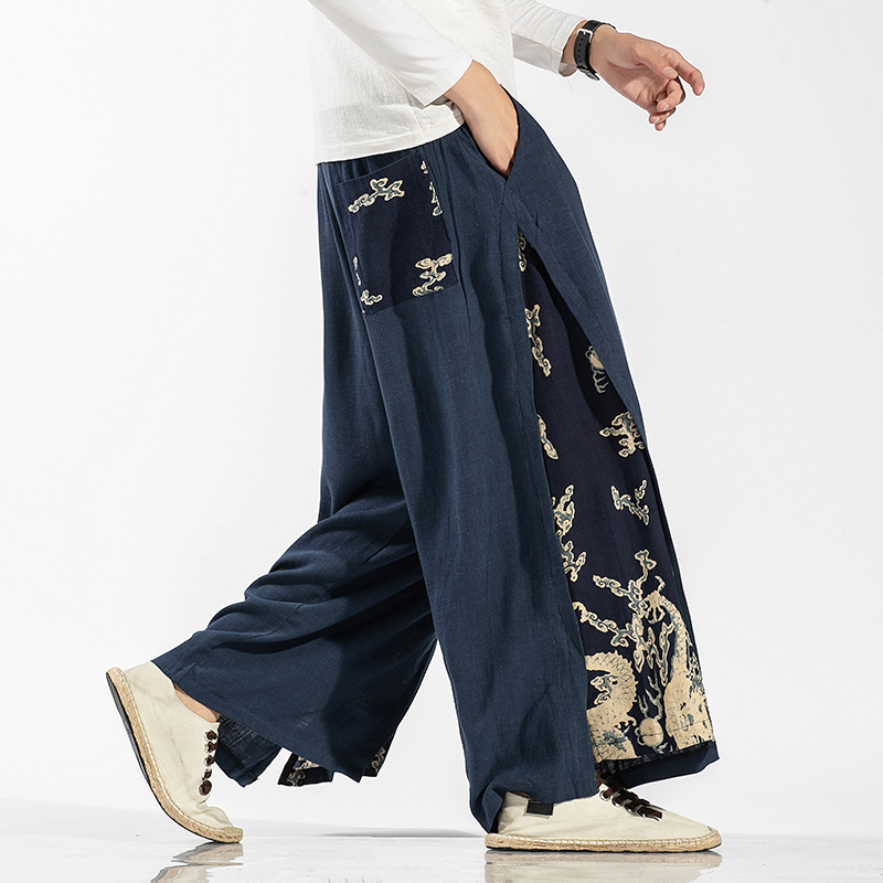 MRDONOO 2020 New Men's Linen Pants Men's Loose Large Size Straight Wide-leg Pants Casual Chinese National Retro Style trousers