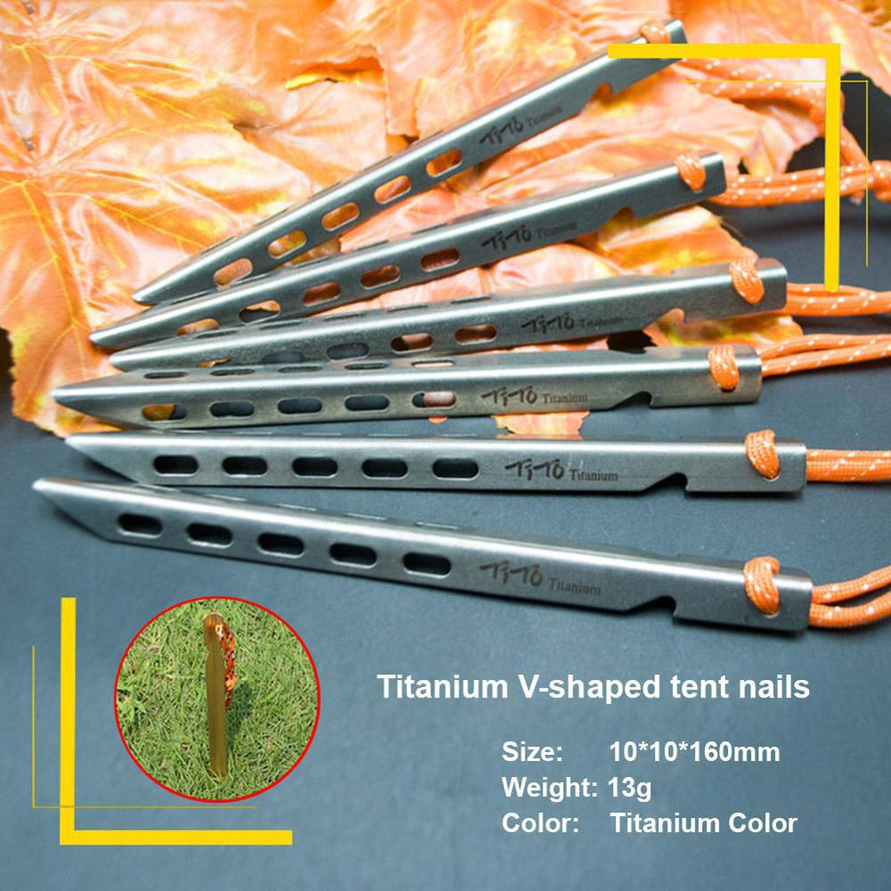 HobbyLane Ultralight Titanium Tent Pegs Outdoor Camping Tent Stakes For Sand Heavy Duty Portable Tent Nail For Garden Picnic
