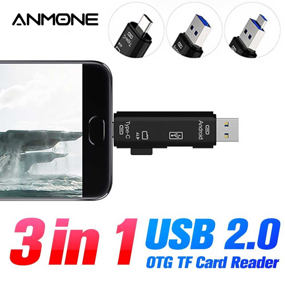 ANMONE 3 In 1 Usb Card Reader High Speed SD TF Micro SD Card Reader To Type C Mobile Phone Memory OTG Adapter USB Cardreader PC