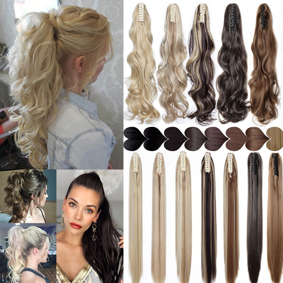 S-noilite Synthetic 12-26inch Claw Clip On Ponytail Hair Extension Ponytail Extension Hair For Women Pony Tail Hair Hairpiece 1