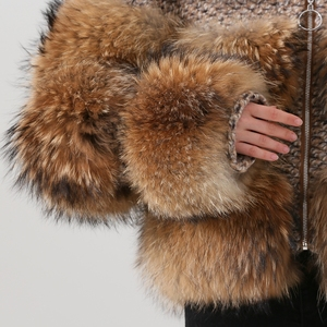 Image 5 - QIUCHEN PJ19017 2020 Winter Jacket Women Parka Real Fur Coat Natural Raccoon Fur winter women Coat Bomber Jacket Streetwear