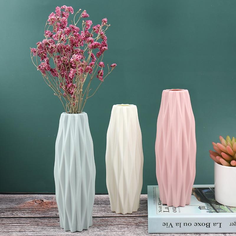 Flower Vase White Imitation Ceramic Flower Pot Decoration Home Plastic Vase