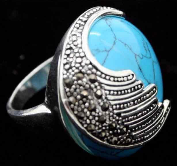 เครื่องประดับแหวนมุกขายส่งใหม่สีฟ้าธรรมชาติหิน Marcasite ขนาดแหวนเงิน 925 ขนาด 7/8/9/ 10 จัดส่งฟรี