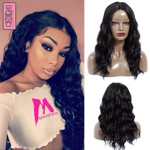 YunRong short Water Wave Synthetic Wig Natural Black Middle Part for African American Wome High Temperature Fiber
