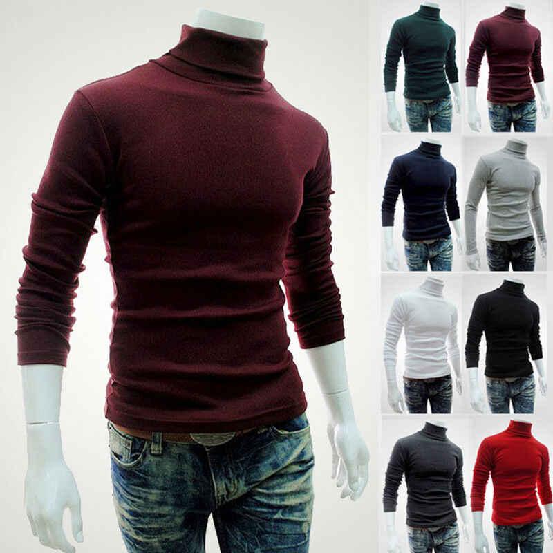 Nowy 2019 jesień sweter z golfem zwykły czarny męski sweter na co dzień koszulka mężczyzna dzianiny marka koreański styl ubrania