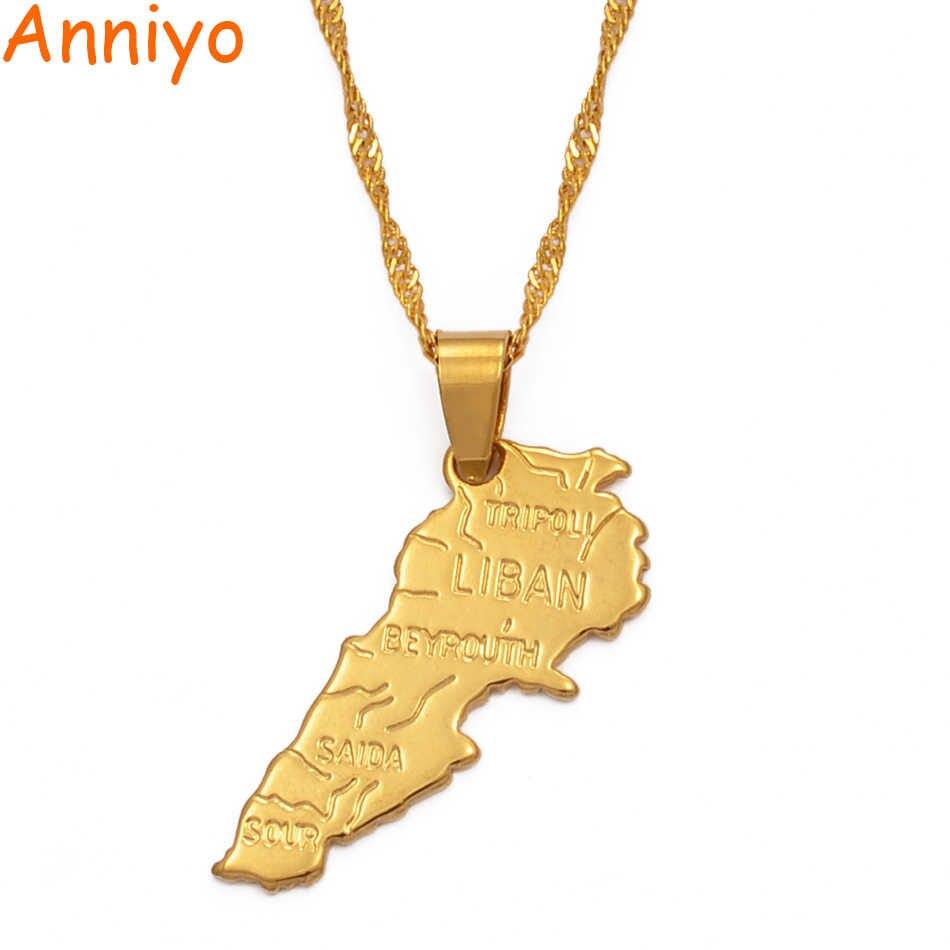 Anniyo wisiorek: 3.2cm x 1.5 cm/Liban mapa naszyjnik łańcuszek z wisiorkiem 45 cm/60 cm kobiety mężczyźni złoty kolor biżuteria Liban mapa #007410