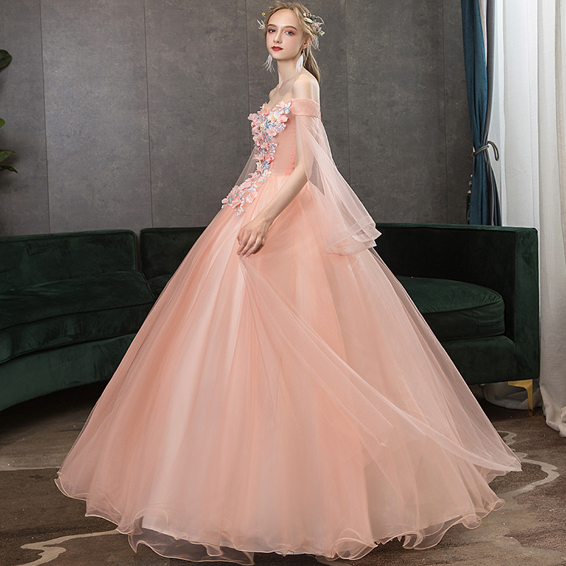 Boat Neck Cap Sleeve 2020 Appliques Flower Pearls Quinceanera Dress Gown Party Elegant Sweetheart For 15 Years Real Photo