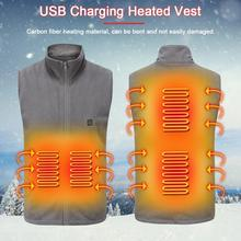 Men Women Outdoor USB Infrared Heating Vest Fleece Jacket Winter Flexible Electric Thermal Clothing Waistcoat For Sports Hiking cheap keptfeet COTTON Waterproof Heated Vest Fits larger than usual Please check this store s sizing info Other USB Charging Heated Vest