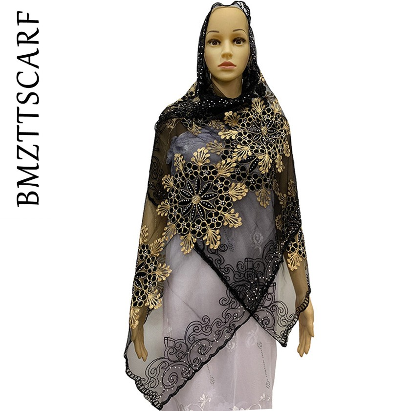 High Quality African Muslim Women Net Scarf Net Match Cotton Embroidered With Beads For SHAWLS PASHMINA BM914