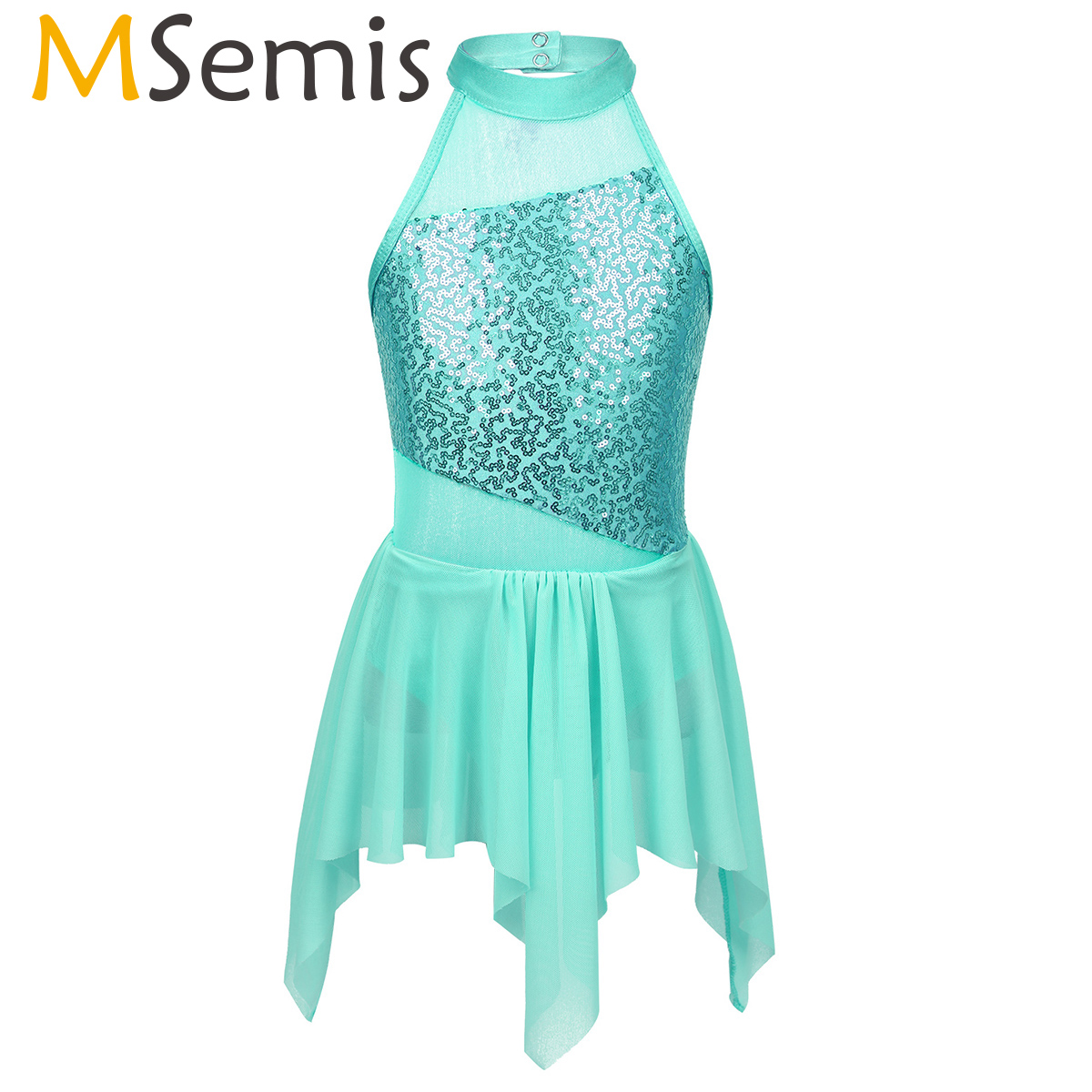 MSemis Figure Ice Skating Dress Kids Girls Sequins Dance Costumes Irregular Cutout Back Ballroom Dance Wear Competition Dresses