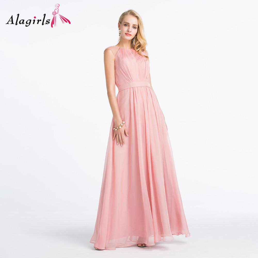 Alagirls Illusion back lace dress 2020 Scoop sleeveless ruched robes Simple ruched chiffon bridesmaid dresses long