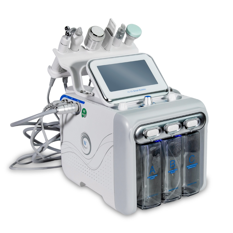 6 In 1 Hydrafacial Dermabrasion Machine Water Oxygen Jet Peel Hydra Skin Scrubber Facial Beauty Deep Cleansing RF Face Lifting