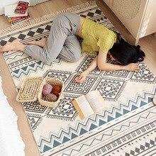 Коврики и ковровые покрытия для гостиной в стиле ретро, хлопковый льняной нескользящий напольный ковер для спальни, коврик в стиле бохо для ...
