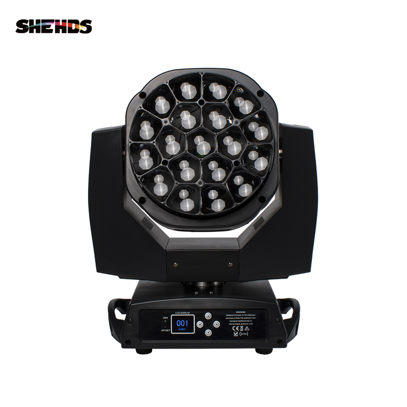 LED Beam+Wash Big Bees Eyes 19x15W RGBW Zoom Lighting DMX Effect Wash Moving Head DJ Disco Party Wedding Decoration Family Bar