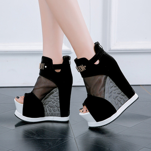 Image 1 - חדש פלוק קרסול מגפי נעלי נשים סנדלים סקסי הולו גבוהה מדרון עם נעליים אחד פה דגים עבה טריזי תחתון קצר מגפיים