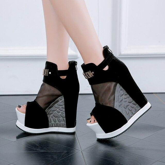 חדש פלוק קרסול מגפי נעלי נשים סנדלים סקסי הולו גבוהה מדרון עם נעליים אחד פה דגים עבה טריזי תחתון קצר מגפיים