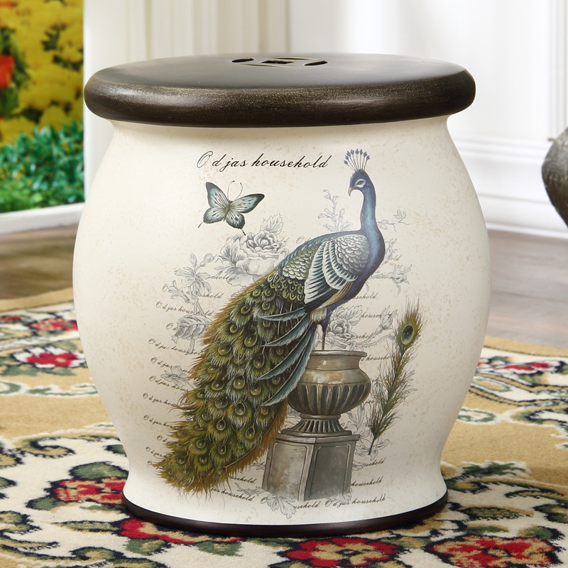 home decorat christmas decorations for home  Classic Luxury Home Ceramics Handpainted Drum stool Creative European Antique stool