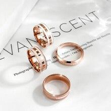 Trendy Roestvrij Staal Rose Gouden Kleur Liefde Ring Voor Vrouwen Mannen Paar Ringen Luxe Merk Sieraden Huwelijkscadeau Vrouwelijke Ringen
