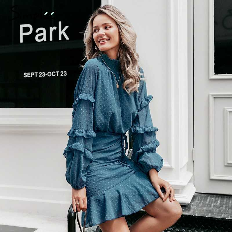 Simplee Элегантное Осеннее платье в горошек длинными рукавами и оборками на шнуровке Офисное платье Ретро