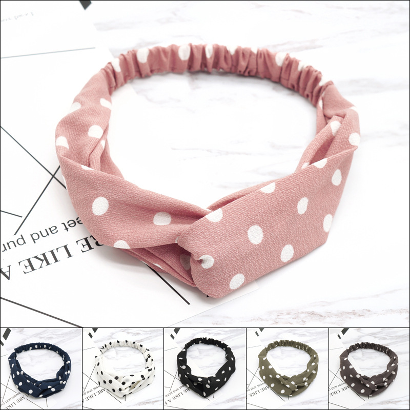 1Pcs Wave Point Headband For Women Girls Dot Cross Turban Headwear Bath Makeup Hairband Accessories Round Bandanas Hair Band