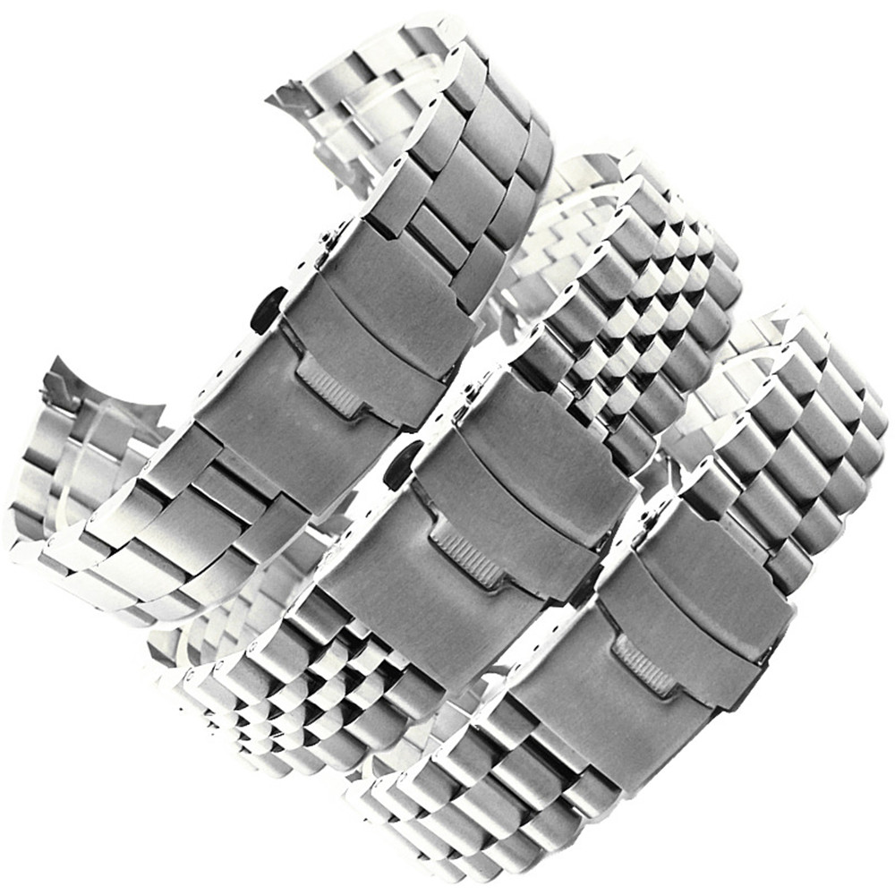 20mm 22mm Stainless Steel Strap Watchband Men Women Silver Solid Curved End Metal Polished Diving Bracelet Band Accessories