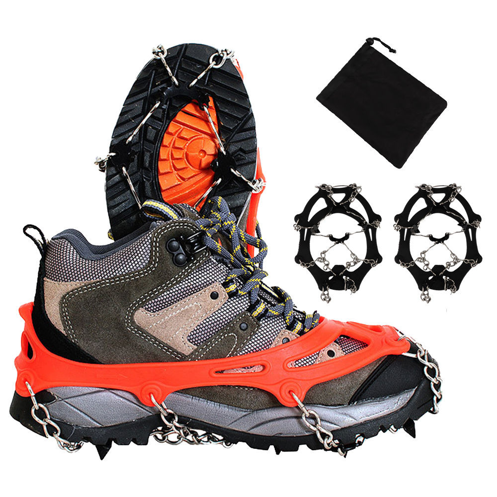 Stainless Steel Ice Gripper Spike Shoes Non-slip Climbing Snow Spikes Crampons Cleats Chain Claws Grips Boots  8-tooth Crampons
