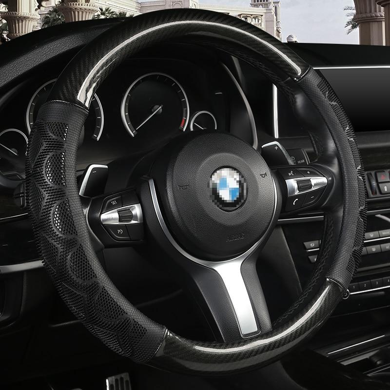 NATURAL LEATHER STEERING WHEEL COVER FOR BMW E36 E39 E46 E53 E60 E83 E87 E90 E91